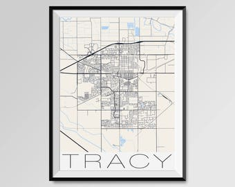 Tracy California Map Etsy