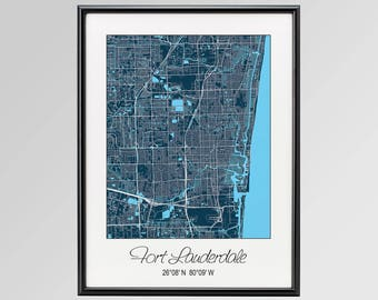 Map Of Fort Lauderdale Florida.Fort Lauderdale Map Etsy