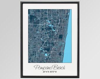 Map Of Pompano Beach Florida.Map Of Pompano Beach Etsy