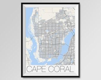 Map Fort Myers Florida.Fort Myers Florida Map Fort Myers City Map Print Fort Myers Etsy