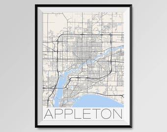 Appleton Map Etsy