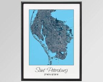 Map Of St Petersburg Florida.Saint Petersburg Fl Etsy