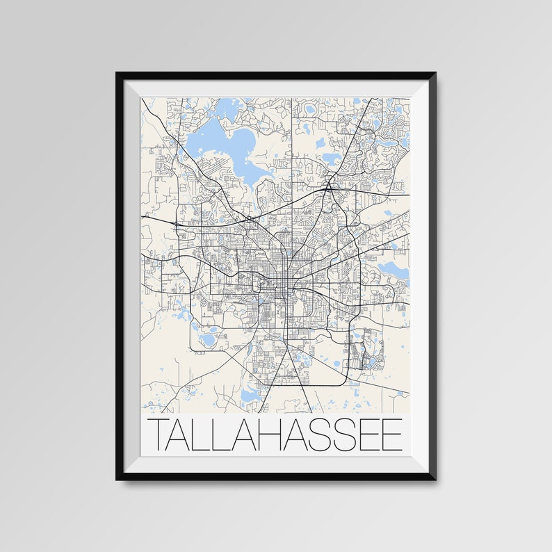 TALLAHASSEE City Map Print Modern City Poster Florida State | Etsy