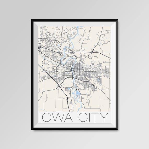 Iowa City Iowa Map Iowa City City Map Print Iowa City Map Etsy