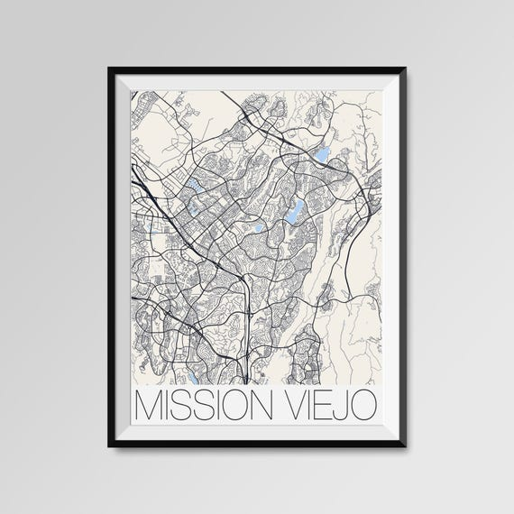 Mission Viejo California Map Mission Viejo City Map Print Etsy