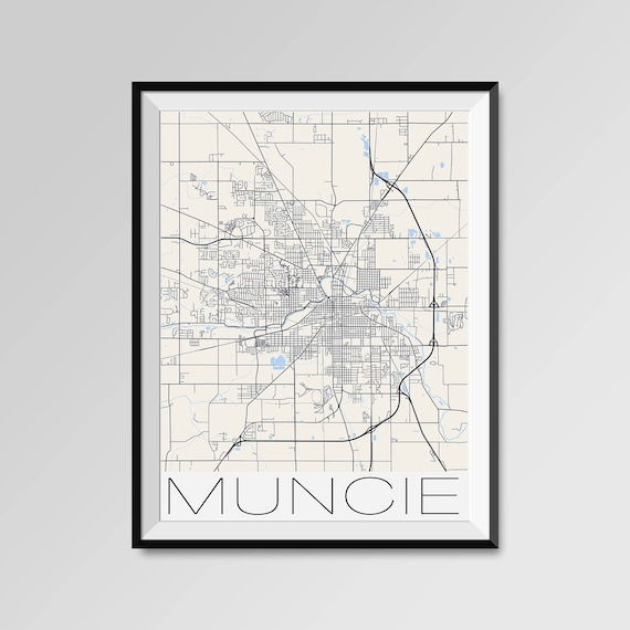 Muncie Zip Code Map.Muncie Indiana Map Muncie City Map Print Muncie Map Poster Etsy