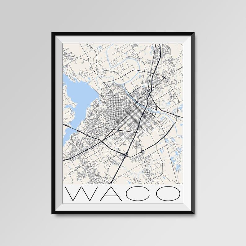 WACO Texas Map, Waco City Map Print, Waco Map Poster, Waco Wall Map on map of salina texas, map of temple texas, map of lott texas, map of llano river texas, map of houston texas, map of killeen texas, map of stinnett texas, map of arlington texas, map of college station texas, map of southwest austin texas, map of winona texas, map of pflugerville texas, map of west texas, map of valley mills texas, map of cross plains texas, map of redwater texas, map of bremond texas, map of graford texas, map of downtown fort worth texas, map of calvert texas,