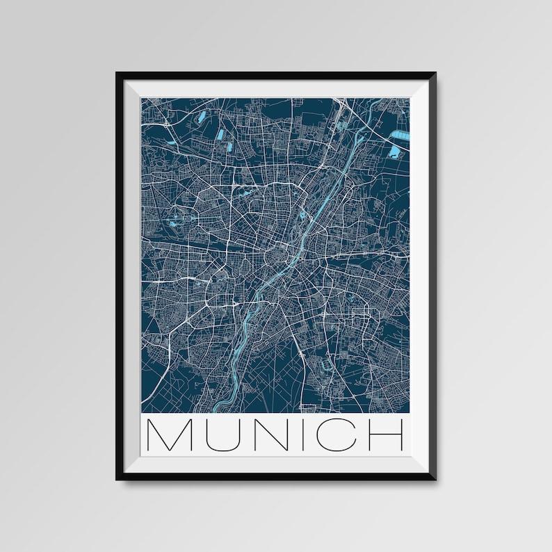 München Karte Schwarz Weiß.München Karte Drucken Moderne Stadt Poster Schwarz Weiß Minimal Wandkunst Für Die Inneneinrichtungen