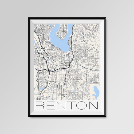 RENTON Washington Map Renton City Map Print Renton Map   Etsy