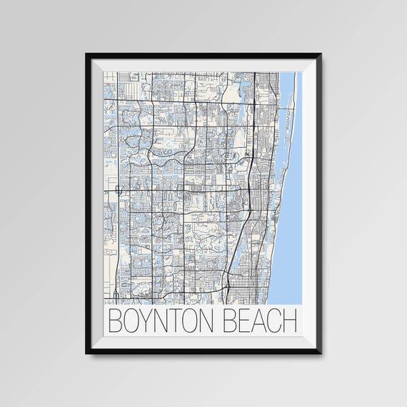 Boynton Beach Florida Map.Boynton Beach Florida Map Boynton Beach City Map Print Etsy
