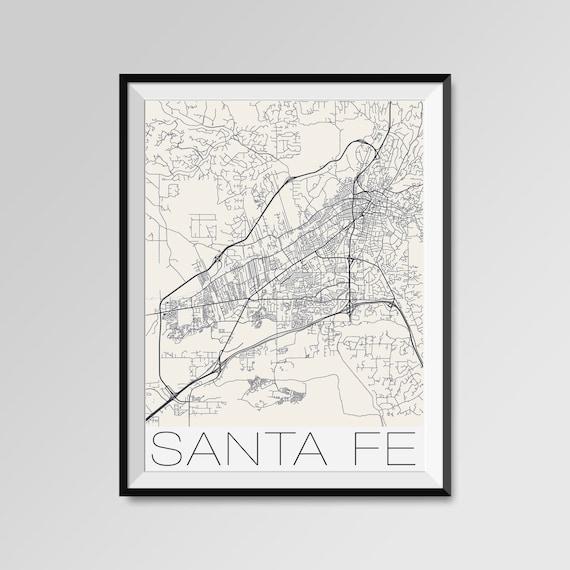 SANTA FE New Mexico Map, Santa Fe City Map Print, Santa Fe Map Poster,  Santa Fe Wall Art, Santa Fe Custom city, Personalized New Mexico map