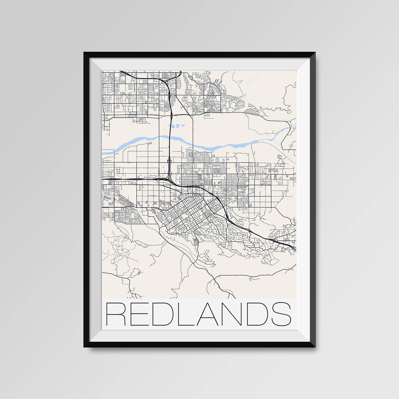 Redlands California Map Redlands City Map Print Redlands Map Etsy