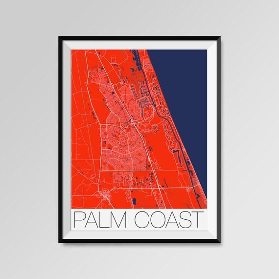 Palm Coast Florida Map.Palm Coast Florida Map Palm Coast City Map Print Palm Coast Etsy