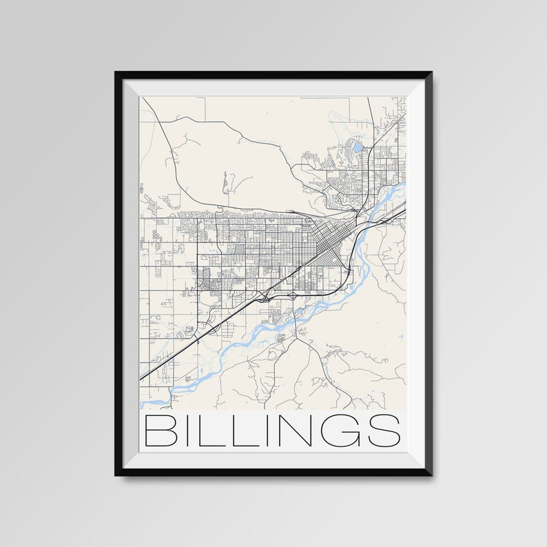 BILLINGS Montana Map, Billings City Map Print, Billings Map Poster,  Billings Wall Map Art, Billings gift, Custom city maps, Montana map