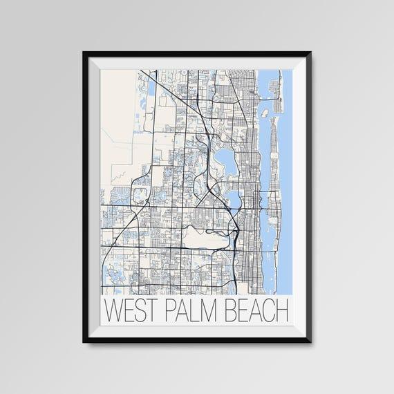 Map Of Palm Beach Florida.West Palm Beach Florida Map West Palm Beach City Map Print Etsy