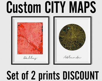 City maps, custom city maps, set of 2 City Maps - Multiprint Discount