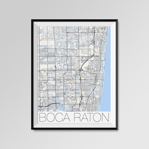 Map Of Boca Raton Florida.Boca Raton Florida Map Boca Raton City Map Print Boca Raton Etsy