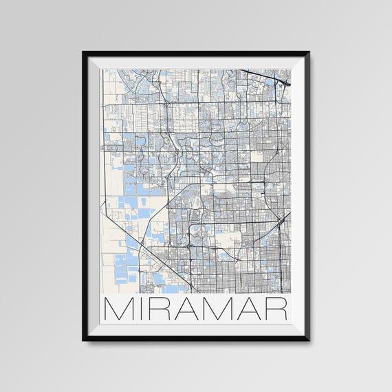 Miramar Florida Map Miramar City Map Print Miramar Map