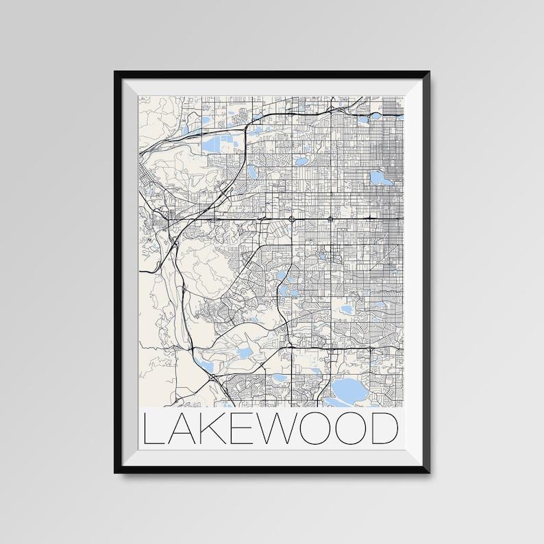 LAKEWOOD Colorado Map, Lakewood City Map Print, Lakewood Map Poster,  Lakewood Wall Map Art, Lakewood gift, Custom city maps, Personalized