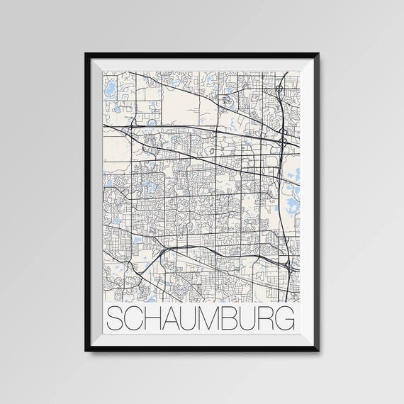 Schaumburg Illinois Map.Schaumburg Illinois Map Schaumburg City Map Print Schaumburg Etsy