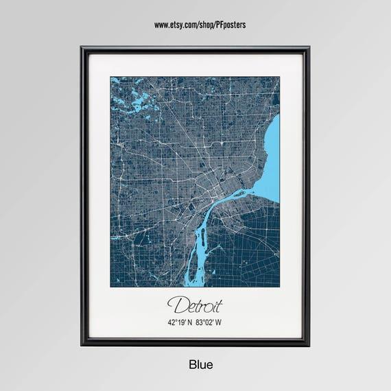 Detroit Michigan Map Detroit City Map Print Detroit Map | Etsy