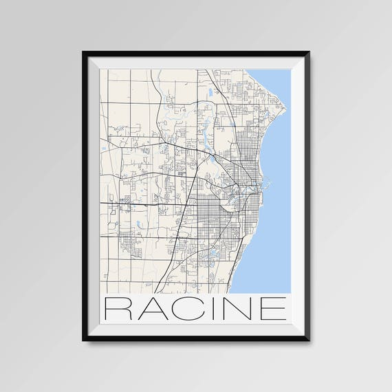 Racine Wisconsin Map.Racine Wisconsin Map Racine City Map Print Racine Map Etsy