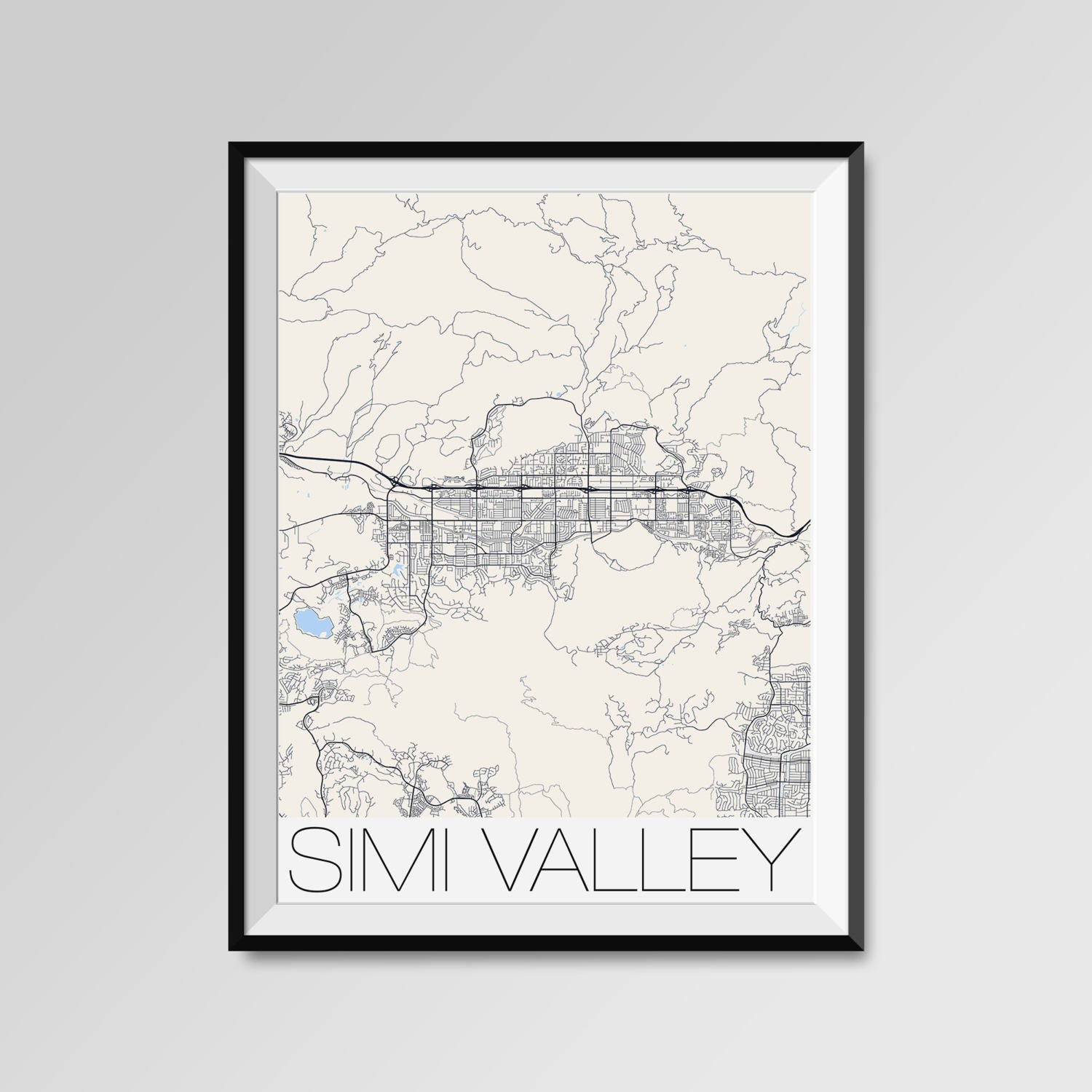 Simi Valley California Map Simi Valley City Map Print Simi Etsy