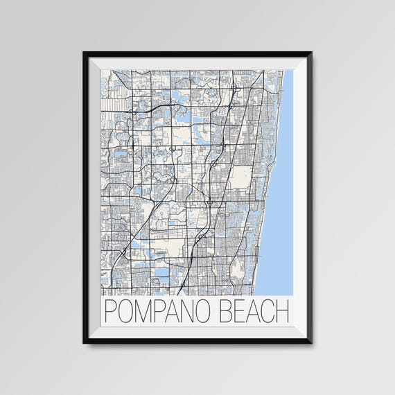 Pompano Beach Florida Map Pompano Beach City Map Print Etsy