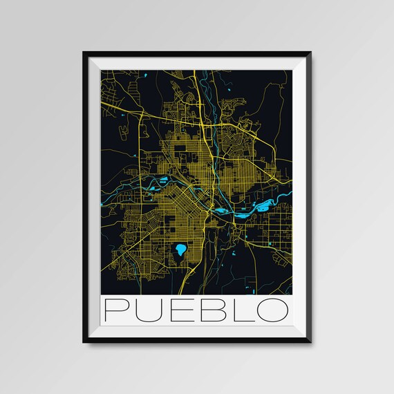 PUEBLO Colorado Map, Pueblo City Map Print, Pueblo Map Poster, Pueblo Wall  Map Art, Pueblo gift, Custom city, Colorado State University