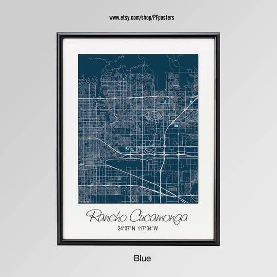 Rancho Cucamonga California Map Rancho Cucamonga City Print Etsy