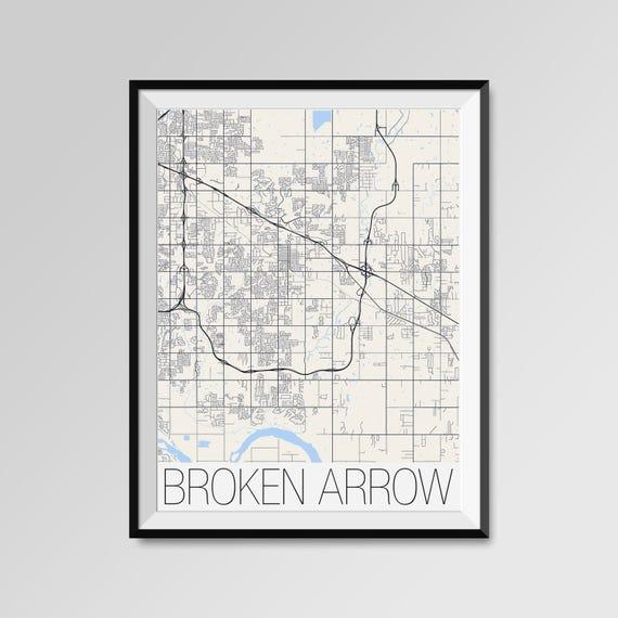 BROKEN ARROW Oklahoma Map Broken Arrow City Map Print Broken | Etsy