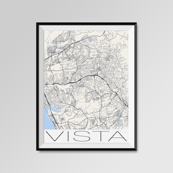 Vista California Map Vista City Map Print Vista Map Poster Etsy