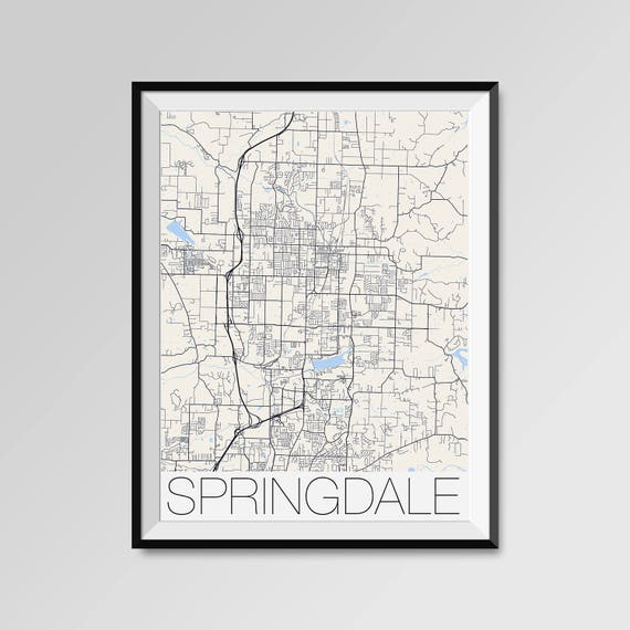 SPRINGDALE Arkansas Map, Springdale City Map Print, Springdale Map Poster,  Springdale Wall Art gift, Custom city, Personalized Arkansas map