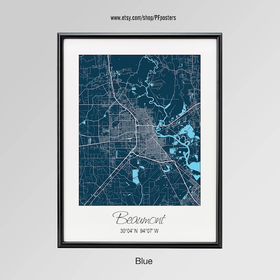 Map Of Beaumont Texas.Beaumont Texas Map Beaumont City Print Beaumont Poster Etsy