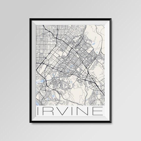 Irvine City Maps Print Los Angeles City Poster Minimalist | Etsy on
