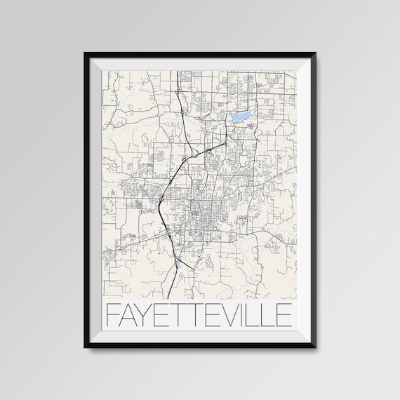 FAYETTEVILLE Arkansas Map, Fayetteville City Map Print, Fayetteville Map  Poster, Fayetteville Wall Art, Fayetteville University of Arkansas