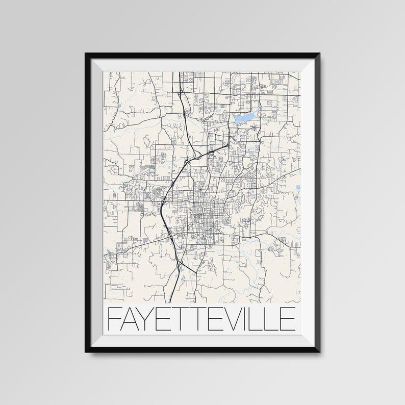 Fayetteville Arkansas Map Fayetteville City Map Print Etsy