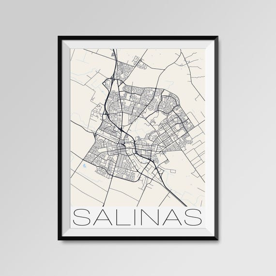 Salinas California Map Salinas City Map Print Salinas Map Etsy