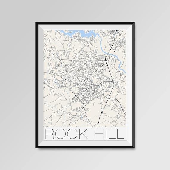 ROCK HILL South Carolina Map Rock Hill City Map Print Rock   Etsy
