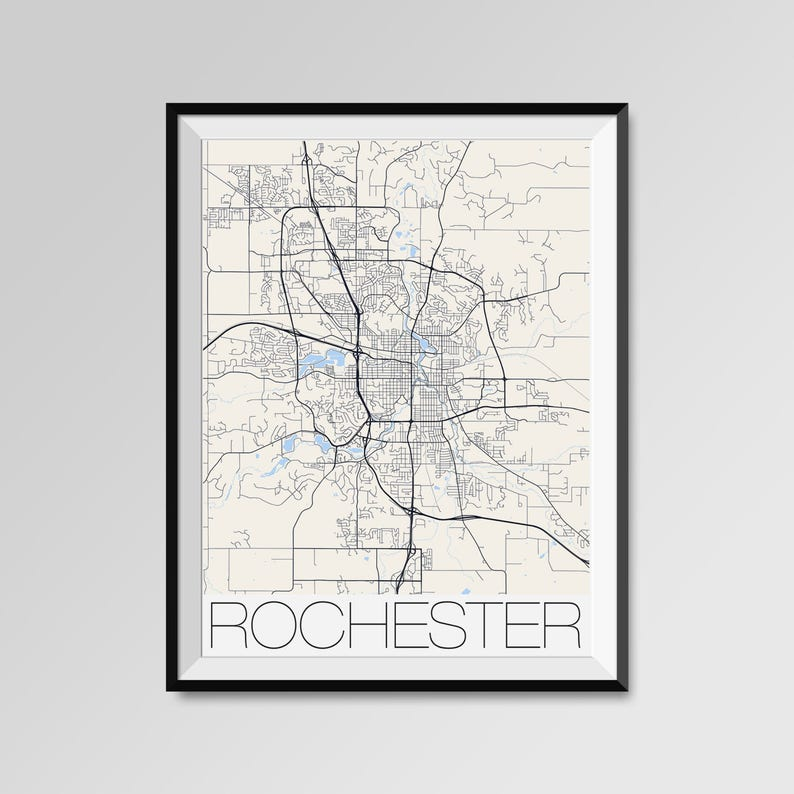 Rochester Minnesota Map Rochester City Map Print Rochester Etsy
