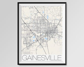 GAINESVILLE Florida Map, Gainesville City Map Print, Gainesville Map Poster, Gainesville Map Art, Gainesville gift, University of Florida