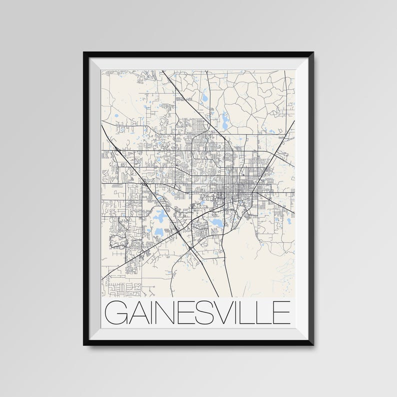 Gainesville Florida Map Gainesville City Map Print Etsy