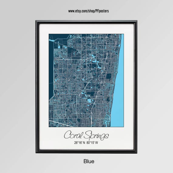 Map Of Florida Showing Coral Springs.Coral Springs Florida Map Coral Springs City Print Coral Etsy