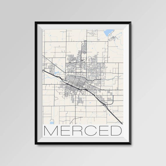 Merced California Map Merced City Map Print Merced Map Etsy