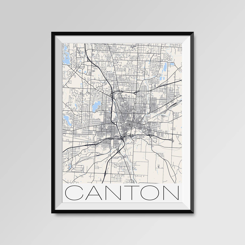 Canton Ohio Map Canton City Map Print Canton Map Poster Etsy