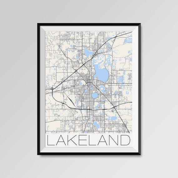 Lakeland Florida Map Lakeland City Map Print Lakeland Map
