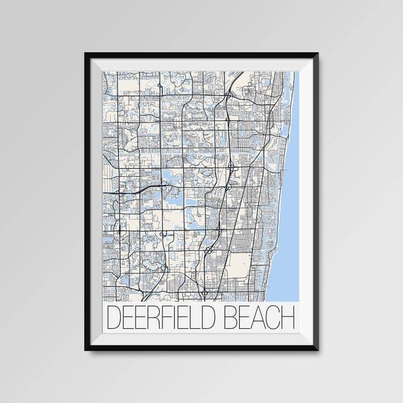 Deerfield Beach Florida Map.Deerfield Beach Florida Map Deerfield Beach City Map Print Etsy