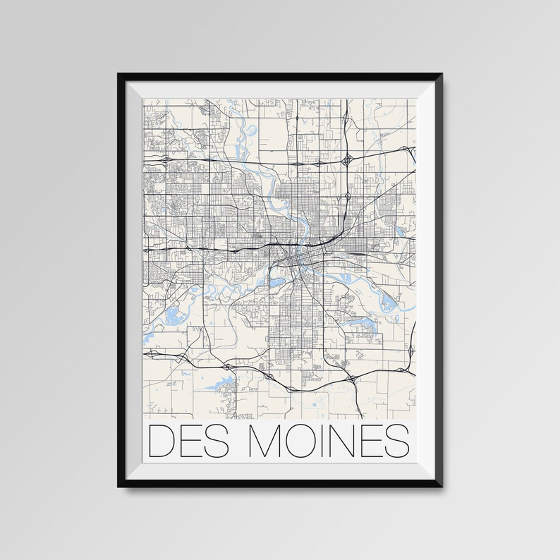 DES MOINES City Map Print Modern City Poster Iowa Black and | Etsy on