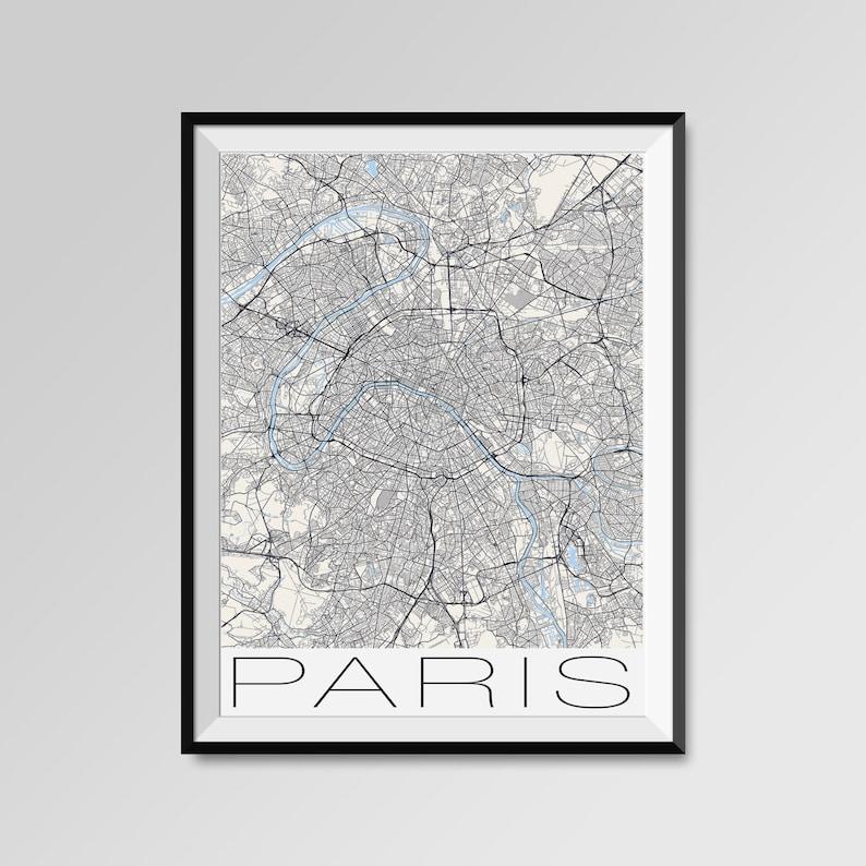 Drukuj Mapę Paryż Miasto Nowoczesny Plakat Czarno Biały Minimalny ścienne Sztuki Na Wystrój Wnętrz