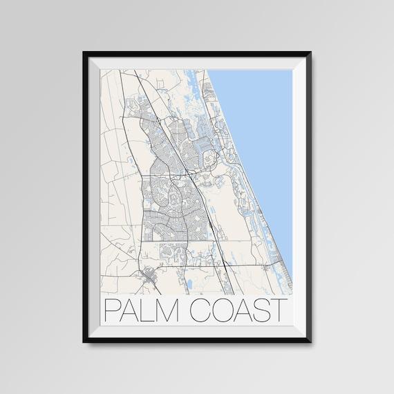 Map Of Palm Coast Florida.Palm Coast Florida Map Palm Coast City Map Print Palm Coast Etsy